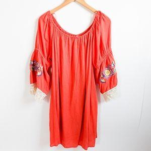 Entro Bohemian Off Shoulder Embroidered Dress